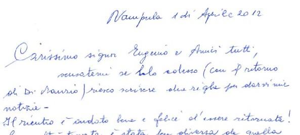 Lettera suor Maria Pedron